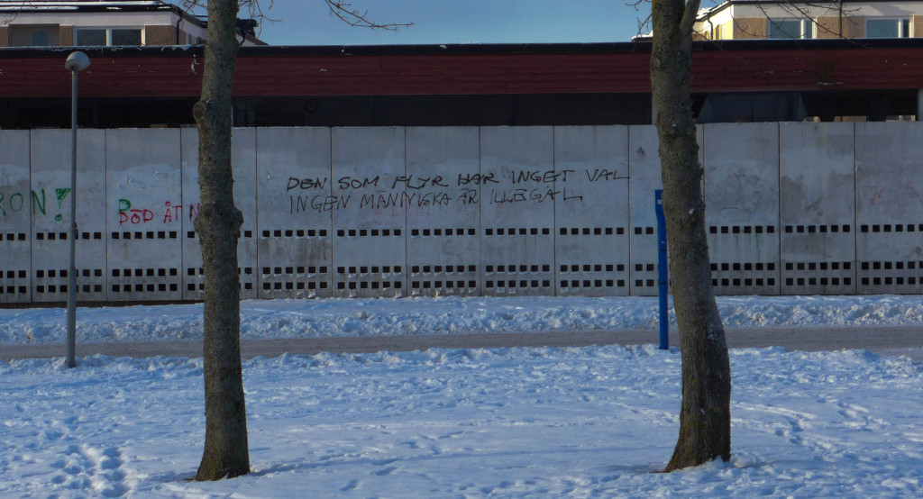 "Not that I support it but one thing I missed about Uppsala was the prevalence of political graffiti. There seems to be a constant battle between the left and the right, to try and take wall space for their message. This message translates to ""The fleeing have no choice. No human beings are illegal""."